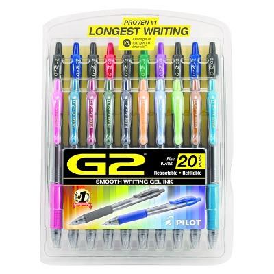 20 Retractable Pens **NEW** Pilot G2 Premium Gel Roller Fine 0.7mm