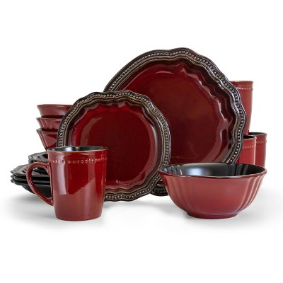 16pc Stoneware Ruby Lagoon Dinnerware Set Red - Elama
