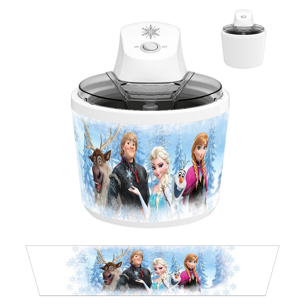 Disney Frozen Ice Cream Maker, Fresh White/Artic Blue Have a special ice cream treat with your very own Ice Cream Maker featuring the loveable characters from  Frozen . Because the Quick Free Bowl is included you will not need any rock salt or ice. You will be enjoying your ice cream in a little as 20 to 30 minutes. A great gift for any Disney fan. Color: Fresh White/Artic Blue.