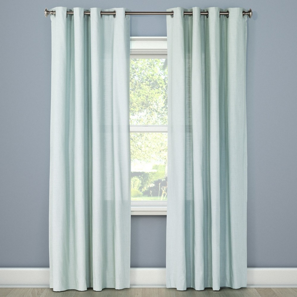 95x54 Natural Solid Light Filtering Curtain Panel Green - Threshold was $25.99 now $12.99 (50.0% off)