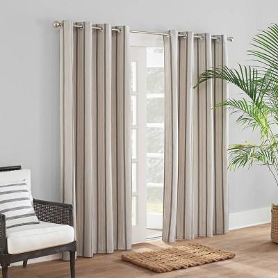 Sunbrella Cove Striped Grommet Indoor/Outdoor Curtain Panel Pebble
