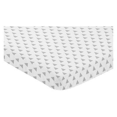 Sweet Jojo Designs Mini Fitted Sheet - Earth and Sky Triangle - Gray