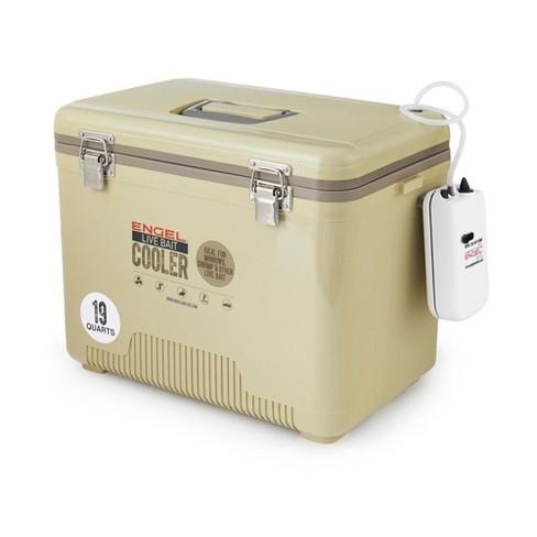 Open Box White Engel 19 Quart Live Bait Dry Box Ice Cooler with Shoulder Strap