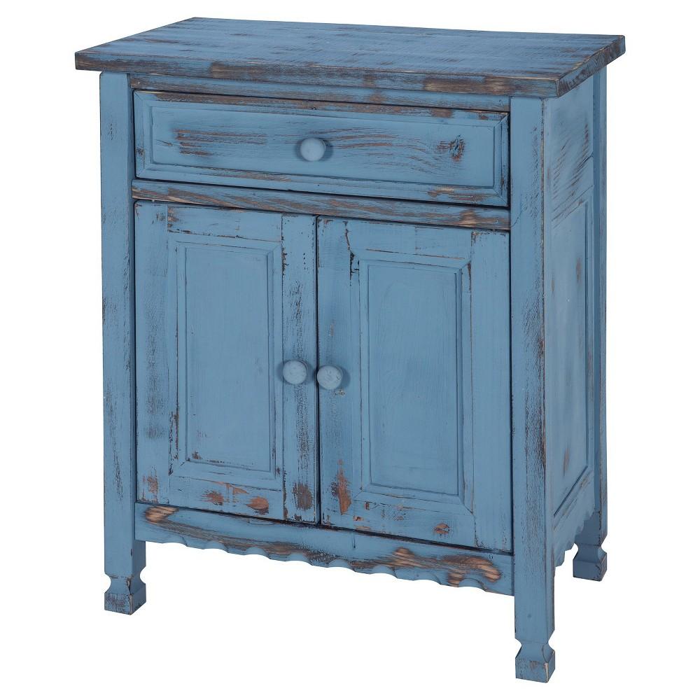 Image of 1-drawer Storage Cabinet Hardwood Blue - Alaterre Furniture