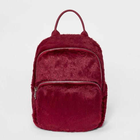 Girls' Faux Fur Mini Backpack - art class™ Maroon - image 1 of 1