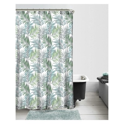 Project 101 14pc Tropical Shower Curtain, Rug and Hook Set Green