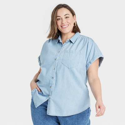 Women's Plus Size Short Sleeve Button-Down Shirts - Ava & Viv™