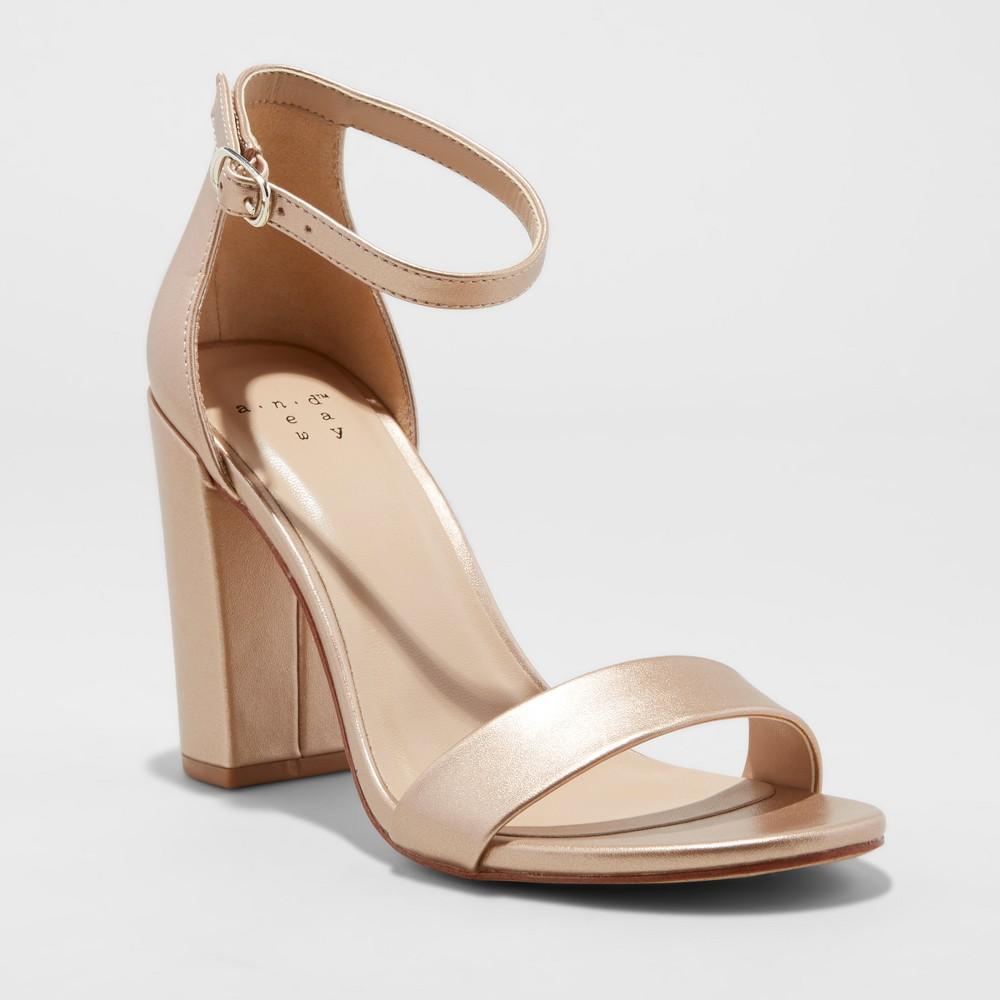 Women's Ema Satin High Block Heel Pump Sandal - A New Day Rose Gold 12