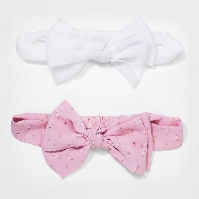 Girls' 2pk Chiffon Bow Headband - Cat & Jack™ White/Pink