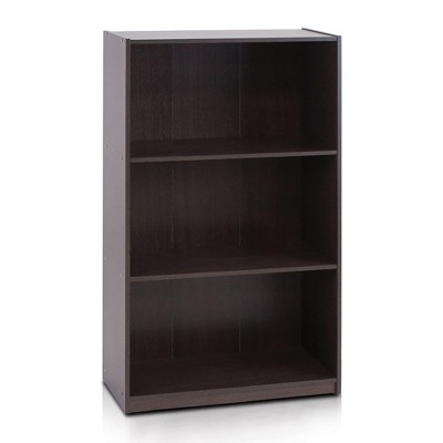 Furinno Basic Simple Sleek Wooden 3 Tier Open Bookcase Display Storage Shelf for Home Rooms and Office Organization, Dark Brown