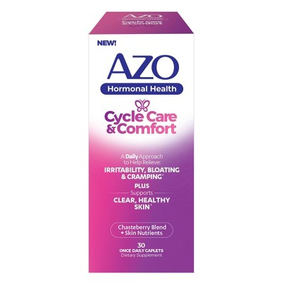AZO Hormonal Health, Cycle Care + Comfort for Menstrual Symptoms - Chasteberry and Zinc - 30ct