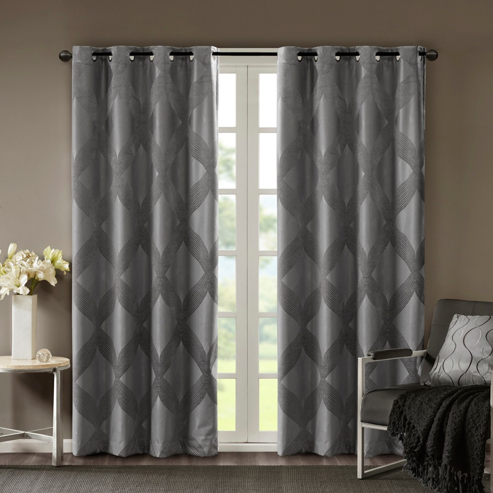 Byron Ogee Jacquard Blackout Curtain Panel Charcoal (Grey) 50
