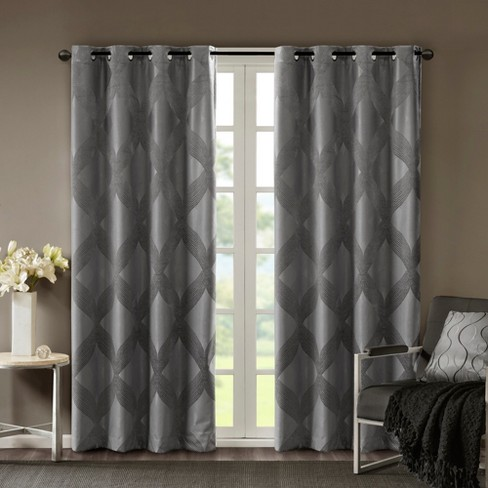 Byron Ogee Knitted Jacquard Total Blackout Curtain Panels - image 1 of 10
