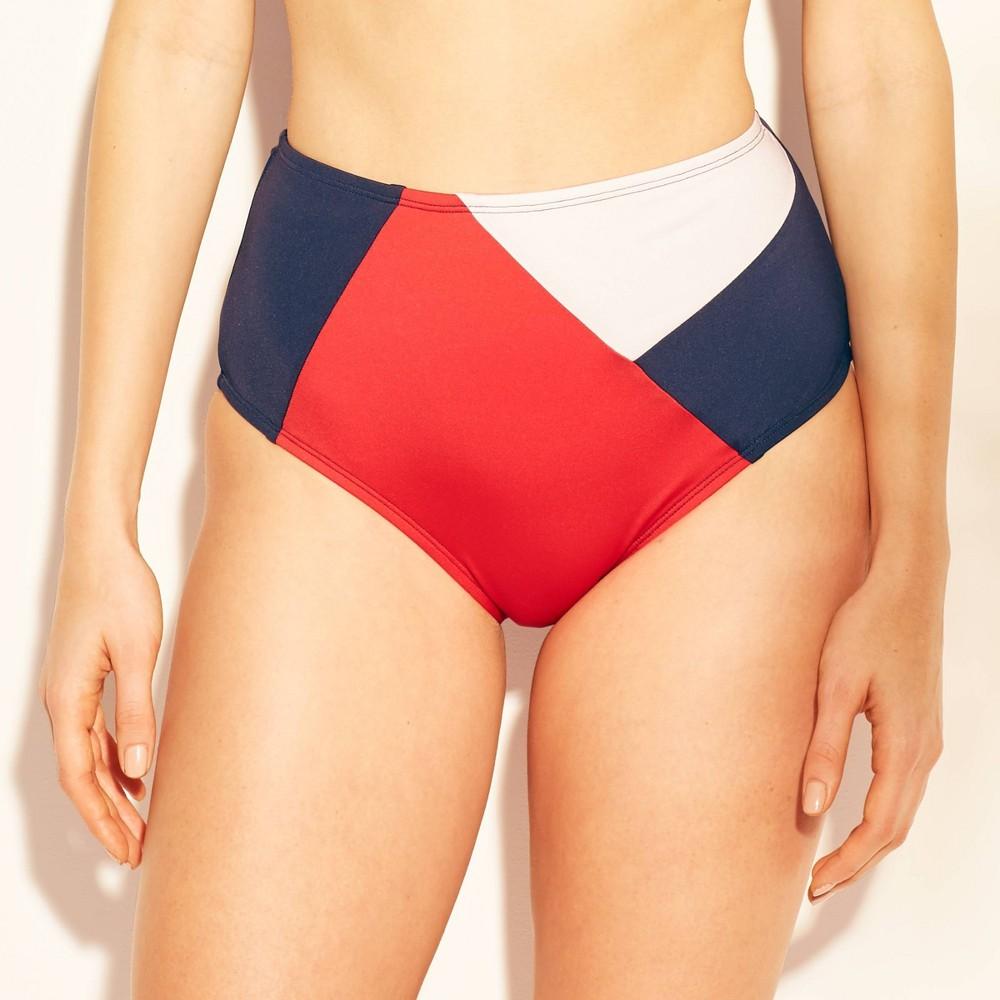 Women's Full Coverage High Waist Bikini Bottom - Kona Sol Red/White/Blue XL