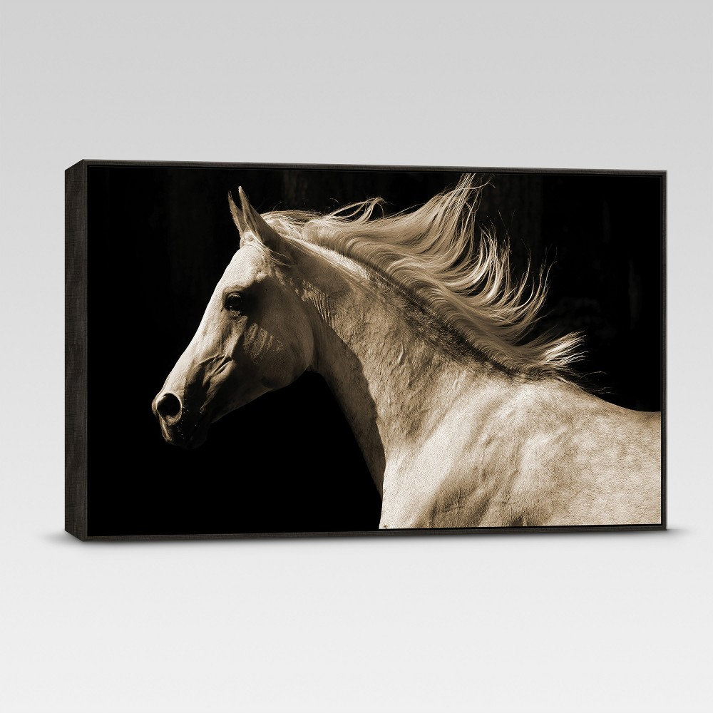 Framed Sepia Horse Wall Canvas - 42 X 24 - Threshold
