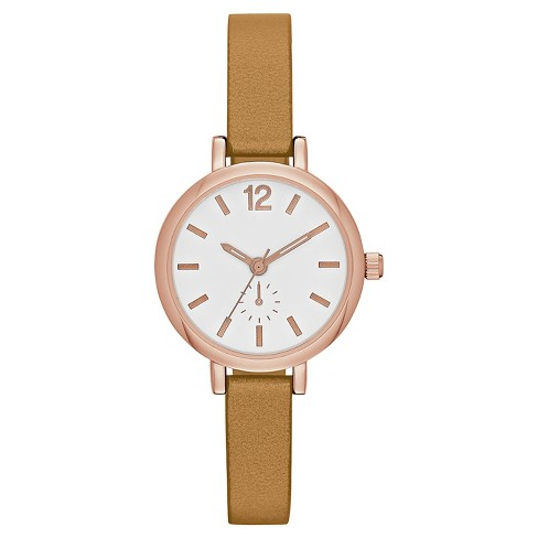 Women's Skinny Strap Watch with Full Arabic Dial - Rose Gold/Brown - image 1 of 1