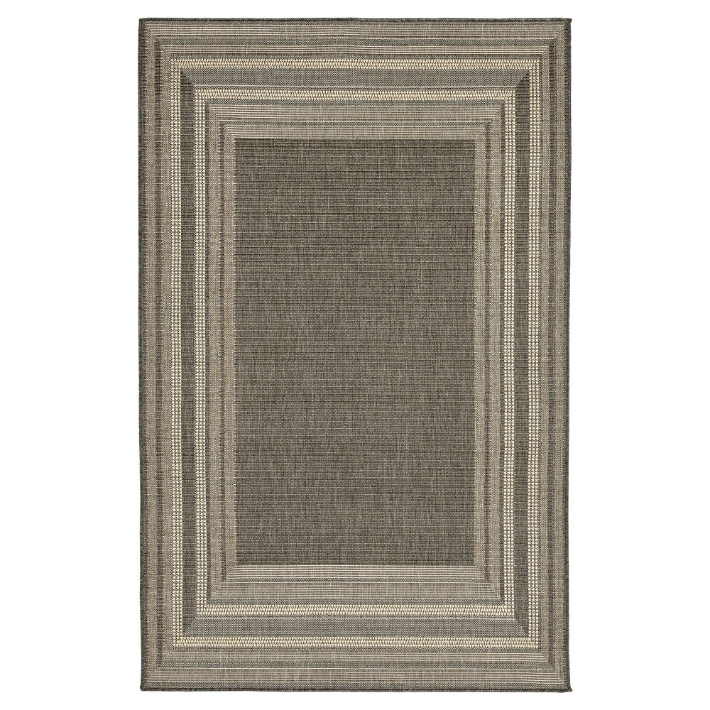Gray Multi Stripe Woven Area Rug 7'10