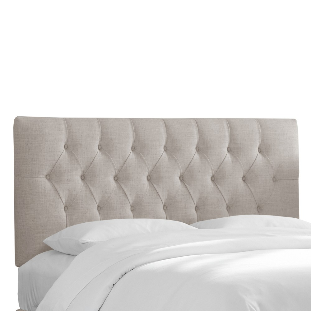 Queen Jasmine Tufted Upholstered Headboard Feather Gray Linen - Cloth & Co.