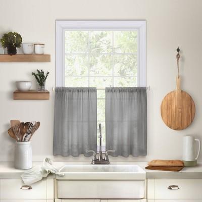 Cameron Linen Rod Pocket Kitchen Tier Window Curtain Set of 2 - Elrene Home Fashions