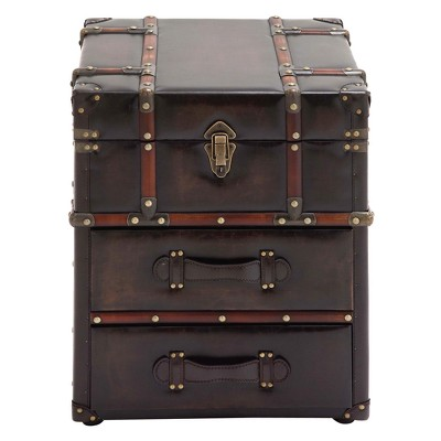 Wood and Faux Leather Trunk End Table Espresso Brown - Olivia & May