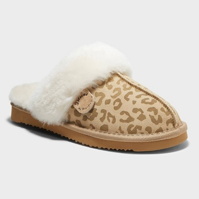 Women's dluxe by dearfoams Kimberly Leopard Genuine Shearling Scuff Slippers