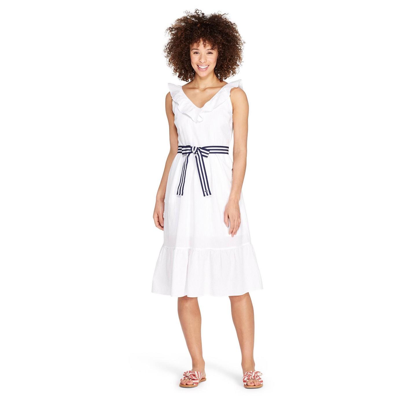 Women's Sleeveless Ruffle Tie Waisted Midi V-Neck Dress - White - vineyard vines® for Target - image 1 of 5