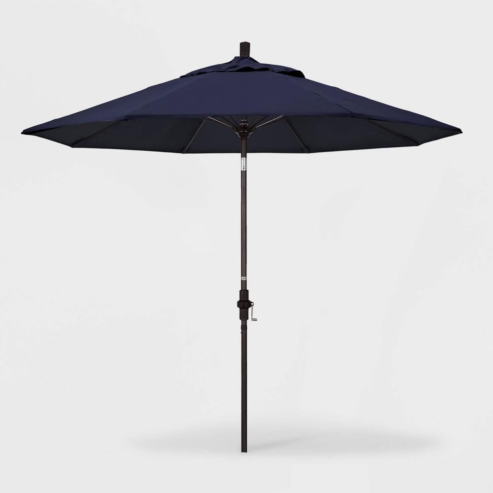 9' Sun Master Patio Umbrella Collar Tilt Crank Lift - Sunbrella Navy (Blue) - California Umbrella