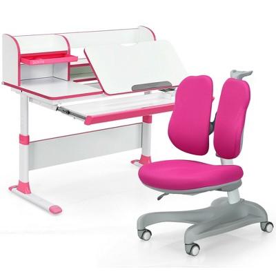 Costway Adjustable Kids Study Desk Drafting Table Chair Set w/ Bookshelf