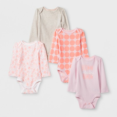 Baby Girls' 4pk Long sleeve Bodysuit - Cloud Island™ Oatmeal Heather 12M