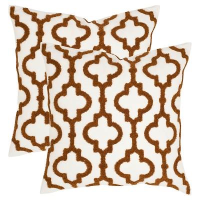 "Brown Set Throw Pillow (18""x18"")- Safavieh"