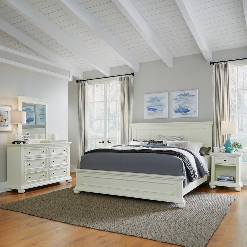 Home Styles King Dover Bed Night Stand with Dresser & Mirror White