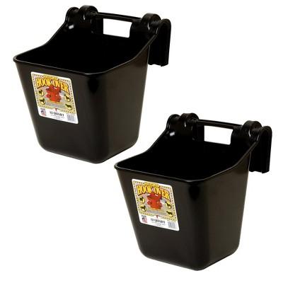 Little Giant HF12BLACK Heavy Duty 12 Quart Mountable Plastic Hook Over Feeder, Black (2 Pack)