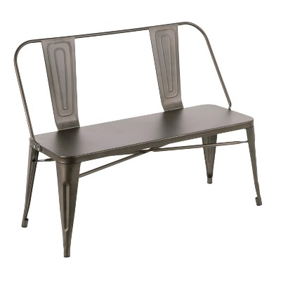 Oregon Industrial Metal Dining Entryway Bench- LumiSource