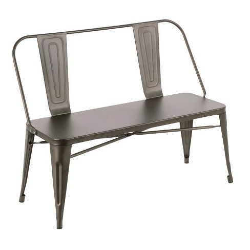 Oregon Industrial Metal Dining Entryway Bench- LumiSource - image 1 of 8