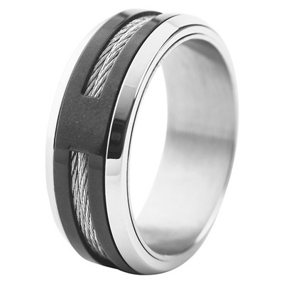 Men's West Coast Jewelry Two-Tone Stainless Steel Cable Inlay Band Ring