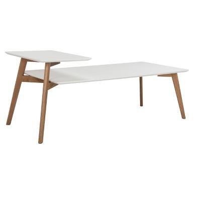 Basil 2 Tier Coffee Table   White / Oak   Safavieh®