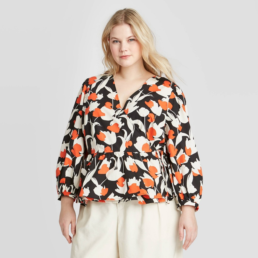 Image of Women's Plus Size Floral Print Long Sleeve Top - Who What Wear Cream 3X, Women's, Size: 3XL, Ivory