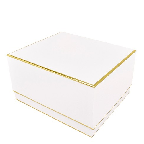 White With Gold Edge, Large Square Box - sugar paper™ - image 1 of 2