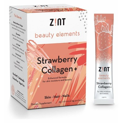 Zint Sweet Collagen Powder with Beauty Nutrients - Strawberry Flavor - 30 Packets