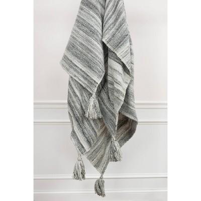 "50""x60"" Stripe Throw Blanket Gray - Rizzy Home"