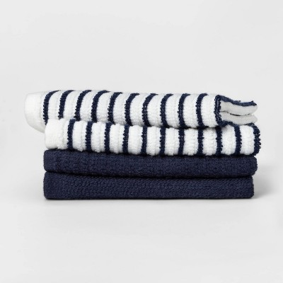 4pk Cotton Striped Dish Cloths Blue - Room Essentials™