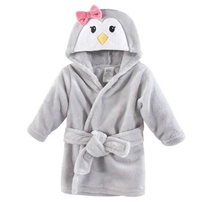 Luvable Friends Baby Girl Plush Bathrobe, Girl Penguin, 0-9M