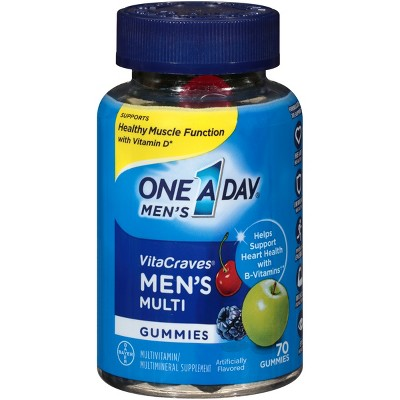 One A Day Men's VitaCraves Multivitamin Gummies - Green Apple, Cherry & Berry - 50ct