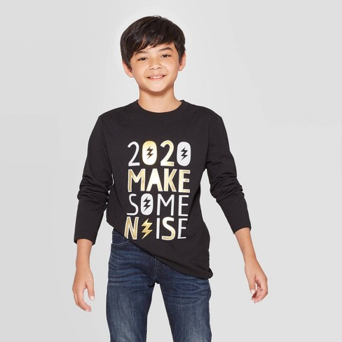 Boys' New Years Long Sleeve Graphic T-Shirt - Cat & Jack™ Black - image 1 of 3