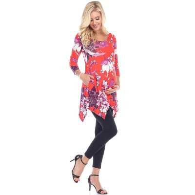 Maternity Floral Scoop Neck Tunic Top with Pockets - White Mark