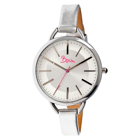 Women's Boum Champagne Watch with Genuine Leather Metallic-Finish Strap-Silver - image 1 of 3