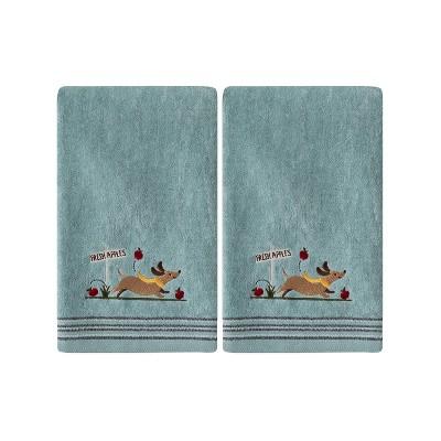 2pc Dog with Apples Hand Towel Set Aqua - SKL Home