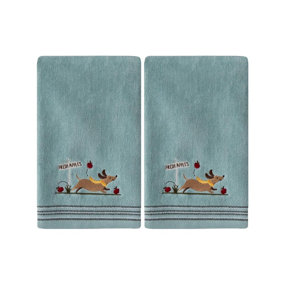 Image of 2pc Dog With Apples Hand Towel Set Aqua - SKL Home, Blue