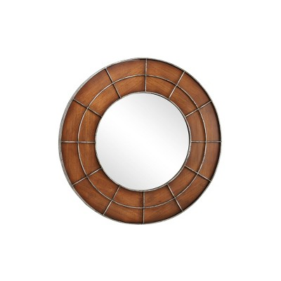 """36"""" x 36"""" Large Round Wood Wall Mirror with Metal Grid Overlay Golden Brown - Olivia & May"""
