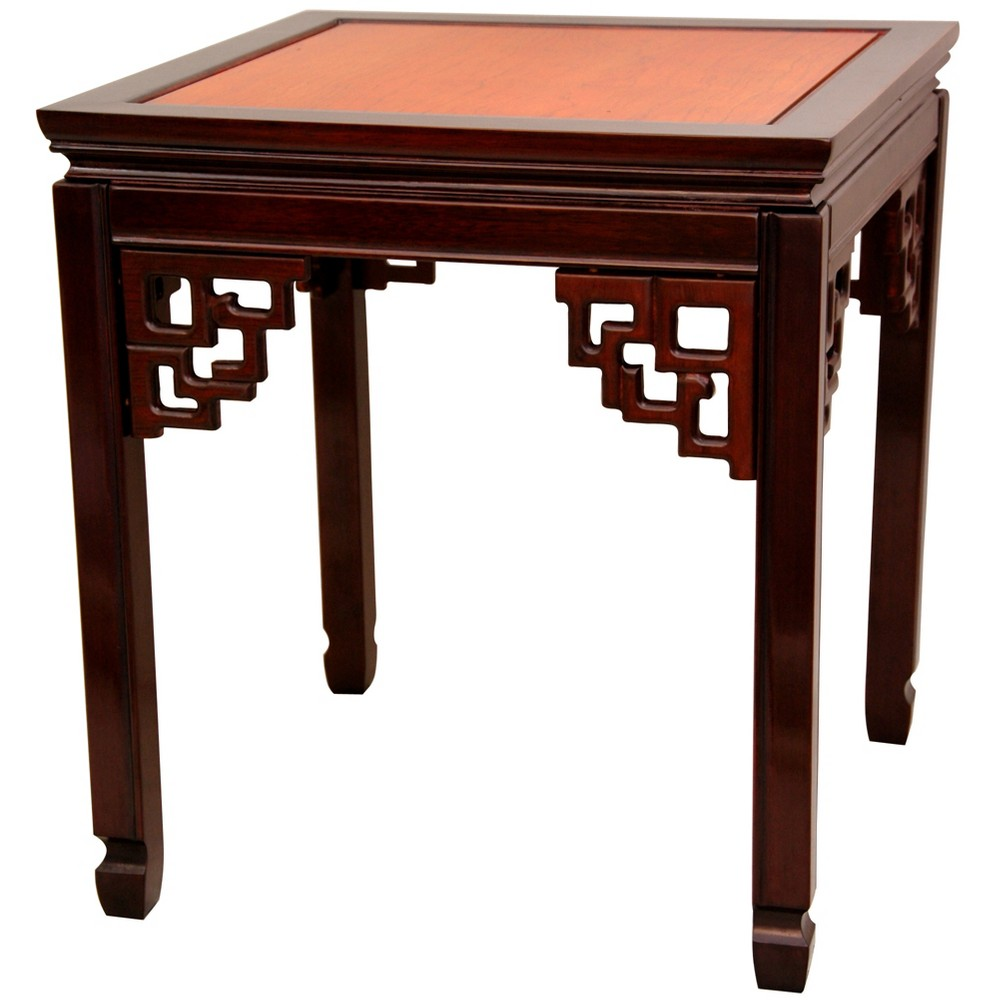 Rosewood Square Ming End Table Twotone Brown - Oriental Furniture